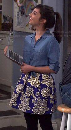 Mandy's denim shirt and blue rose print skirt on Last Man Standing