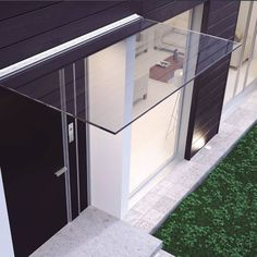Marquise Pensilina largeur 1 mètre 50 Porch Canopy, Hotel Canopy, Verre Design, Marquise, Brushed Stainless Steel, Terrazzo, Cut Glass, Mudroom, Honeycomb