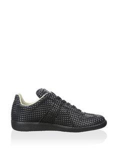 cc5b4f54f41 MM6 Maison Martin Margiela Black Textured Leather Womens Sneakers.  Solesational Footwear   Apparel