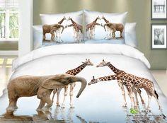 Giraffe elephant print bedding set queen size bedspread duvet quilt cover bed in a bag sheets bedroom linen deer cotton Cheap Bedding Sets, Cotton Bedding Sets, Bedding Sets Online, Affordable Bedding, Queen Size Bedspread, Queen Bedding Sets, Queen Size Bed Covers, Animal Print Bedding, Duvet Bedding