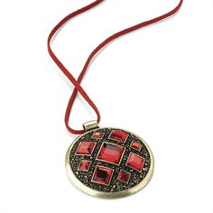 Burnished Gold Effect Transparent Siam Red Colour Crystal Round Pendant on Cord £8.00