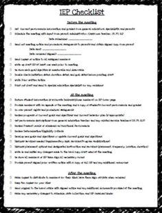 IEP Checklist - editable