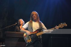 Photo of URIAH HEEP and Phil LANZON and Trevor BOLDER, Phil Lanzon (behind) and Trevor Bolder performing on stage