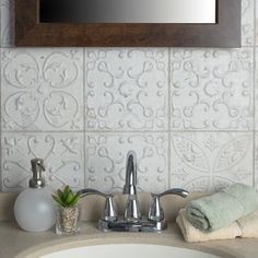 Amplify your interior with the external beauty of the Merola Tile Aevum White Ornato in. Set on a matte white base glaze, taupe and grey age spots and stains produce Tiles Texture, Ceramic Wall Tiles, Fireplace Surrounds, Fireplace Stone, Kitchen Remodel, Flooring, White Tile Backsplash, Backsplash Ideas For Kitchen, Wallpaper Backsplash Kitchen