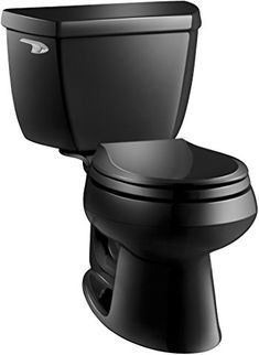 Kohler K-3577-7 Wellworth Classic 1.28 gpf Round-Front Toilet with Class Five Flushing Technology and Left-Hand Trip Lever, Black