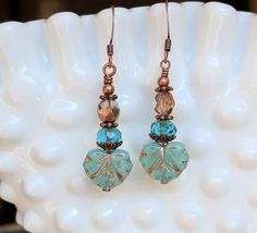 Blue Maple Leaf Glass Bead Dangle Earrings, Aqua Blue and Copper Boho Chic Earrings, Czech Glass, Nature Inspired Jewelry Gift Idea For Her Simple Wedding Bands, Wedding Rings For Women, Gold Bar Earrings, Dangle Earrings, Flower Earrings, Crystal Earrings, Jewelry Gifts, Handmade Jewelry, Jewelry Ideas