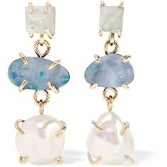 Melissa Joy Manning 14-karat gold, aqua and pearl earrings (1 526 AUD) ❤ liked on Polyvore featuring jewelry, earrings, gold, fine jewelry, pearl jewellery, pearl earrings, fine pearl jewelry and 14 karat gold earrings