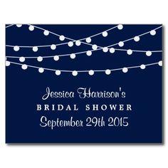 Modern String Lights On Navy Blue Bridal Shower