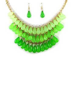 Love this Gold & Green Tiered Teardrop Bib Necklace & Drop Earrings by MOA International Corp on #zulily! #zulilyfinds