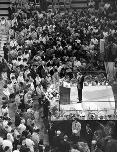 Billy Graham praying with some who responded to the invitation to receive Jesus Christ on one night at his Crusade in Honolulu 51 years ago this month (February 2016)