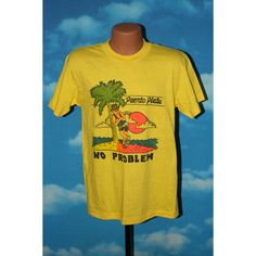 Puerto Plato No Problem 1980s Yellow Tshirt by nodemo