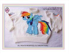 My little pony sweater knitting pattern, rainbow dash, child, baby, girl,  #BELLE Sweater Knitting Patterns, Rainbow Dash, Pattern Paper, My Little Pony, Crochet Hats, Child Baby, Children, Sweaters, Ebay