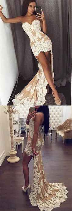 High Low Evening Dress Party Gown,Sexy Lace Sweetheart Mermaid Prom Dresses,Formal Gown #champagne #lace #longpromdress #eveningdress #promdress #promgown