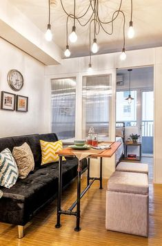 A writer fills her one-bedroom pad with nifty, space-saving ideas and quirky decorative accents Small Condo Decorating, Studio Apartment Decorating, Apartment Design, Apartment Ideas, Apartments Decorating, Condo Interior Design, Condo Design, Interior Design Studio, Interior Ideas