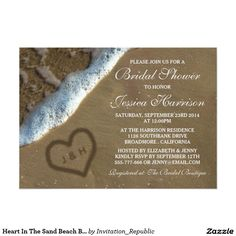 Heart In The Sand Beach Bridal Shower Invitations