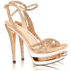 Home Gold Metallic Diamante Strappy Stiletto High Heels - Twinxy ...