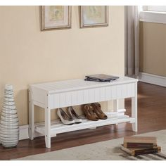 Winslow White Wide Hanging Entryway Shelf The Gray Barn Waggoner Solid Wood Shoe Bench with Storage White Storage Bench, Entryway Bench Storage, Entryway Ideas, Storage Benches, Hallway Bench, Entry Bench, Shoe Storage, Porch Bench, Hallway Ideas