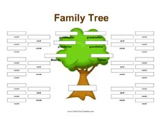 This family tree is designed to include aunts, uncles, and cousins. A full-color tree is in background. Free to download and print