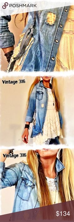 """Altered•Upcycled Denim Shirt Well LOVED Light Denim Shirt with Lace, Crochet, Patches, Frayed Hem & Knots. Patchy Western Yolk and Pearl Snaps. One of a kind~ Buttoned, lying flat 16 3/4"""" bust (add for wearing open). Shoulders 14"""". Vintage 316 Tops Button Down Shirts"""