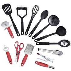 14 Piece Deluxe Kitchen Tool and Utensil Set - Red at Go Go Kitchen Gadget in Kitchen Utensil