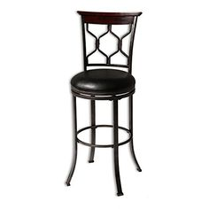 Fashion Bed Group Tallahassee Swivel Seat Bar Stool with Heritage Silver Finished Metal Frame and Black Faux Leather Upholstery, Seat Height