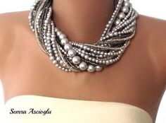 Handmade chunky bold bridal Silver  Necklace  Brides  Bridesmaids gifts. $128.00 via Etsy.