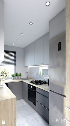 Kuchnia 01 / Łódź - Kitchen - photo from Buffalo Architektura - - Design della cucina Free Kitchen Design, Kitchen Room Design, Modern Kitchen Design, Living Room Kitchen, Kitchen Layout, Interior Design Kitchen, Kitchen Decor, Kitchen Designs, Kitchen Staging