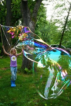 BIG bubbles! 12 cups water, 1 cup cornstarch, 1 cup dish soap, 2 T baking powder, 3 oz personal lubricant.