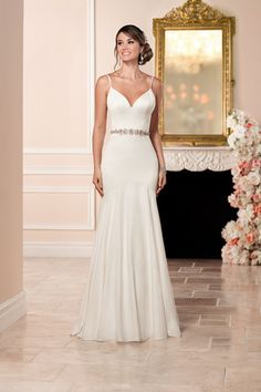 Style 6332 - A @stellayork wedding dress idea -  sexy silk wedding dress with modern lines and tulle waist belt. See more gowns by @essensedesigns on @weddingwire!