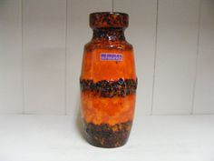 Orange/yellow Scheurich Fat Lava vase van RetroVases op Etsy