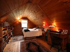 My bedroom in my new house looks like this, all pine, but with more light and higher ceilings.