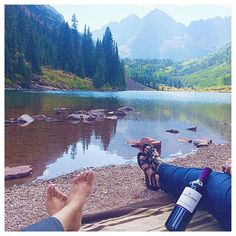 Picnic by the lake  #wine  #food #nature #outdoors #picnic #serene #zen #mountains #goals  #chocolate  #maroonbells #aspen #colorado by seemarella