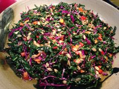 Best tasting Dinosaur kale salad. Healthy and beautiful. Always a crowd pleaser and the first to disappear at potluck events