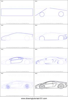 How to Draw Lamborghini Centenario Side View step by step printable drawing sheet to print. Learn How to Draw Lamborghini Centenario Side View Car Drawing Pencil, Pencil Art Drawings, Art Drawings Sketches, Huracan Lamborghini, Lamborghini Diablo, Cool Car Drawings, Car Design Sketch, Car Sketch, Drawing Sheet
