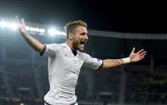 Ciro Immobile of Italy celebrates after scoring the third goal during the FIFA 2018 World Cup Qualifier between FYR Macedonia and Italy at Nacionalna Arena Filip II Makedonski on October 9, 2016 in Skopje, Macedonia.