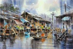 Thanakorn Chaijinda Japan Watercolor, Watercolor Landscape Paintings, Watercolor And Ink, Art Paintings, Boat Art, Art Station, Art Drawings, Art Projects, Watercolours