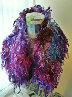 Hand painted curly wool locks Teeswater wrap , purple and blues, cosy wool scarf, felted wrap, one design