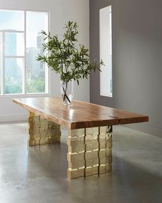 Live-edge dining table in Chamcha Wood on polished brass Blocky Legs by @PhillipsCo #OriginsbyPC #liveedge #liveedgetable #chamchawood #phillipsco