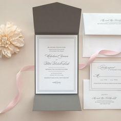 Black and White Letterpress Pocket Fold Wedding Invitation -- Sample -- Grace (FREE SHIPPING)