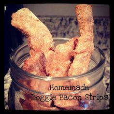Homemade Doggie Bacon Strips #homemade #dogtreats #baconstrips