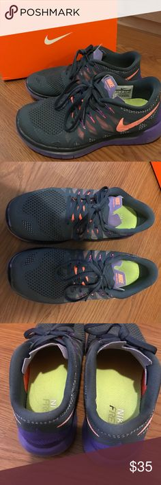 Nike Free Run shoes Great condition! Color is dark grey with coral and dark purple detail Nike Shoes Athletic Shoes