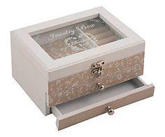 Joyero de madera y vidrio con 2 cajones y compartimentos Jewel