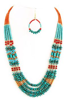 Add a splash of color to your favorite top or dress with this eye-catching turquoise and hot orange colors Tribal Style Necklace Set. Slip on one for holidays, vacation or simply to brighten your day!