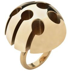 Arnaldo Pomodoro Gold Ring | From a unique collection of vintage dome rings at https://www.1stdibs.com/jewelry/rings/dome-rings/