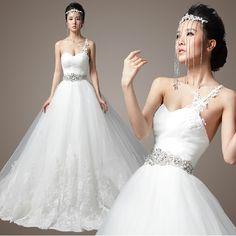 Designer White One Shoulder Masquerade Wedding Bridal Ball Gown Dresses SKU-118186