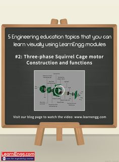 Here's an easy & interesting way to learn about Three-phase Squirrel Cage motor - Construction and functions   Visit our blog page to watch the video: [Click on the image]  #learnengg #video #visuallearning #3dm