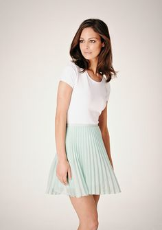 Pleated pale pastel green skirt