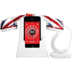 iZKA® - rétro Multi accueil station bureau Chargeur compris rétro combiné pour Apple iPhone 5 5S 5C (Union Jack UK - Compatible avec la plup...