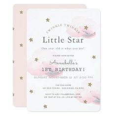 Shop Twinkle Little Star Pink Baby Shower Invitation created by rikkas. Personalize it with photos & text or purchase as is! Baby Girl Birthday, First Birthday Parties, First Birthdays, Birthday Ideas, 2nd Birthday, Birthday Wishes, 1st Birthday Invitations, Baby Shower Invitations, Unicorn Invitations