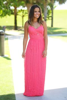 Coral Pleated Maxi Dress with Open Back